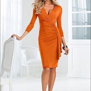 VENUS Dresses - Venus Orange Wrap Dress